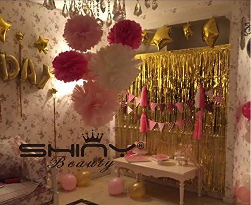 Shinybeauty 3 Ftx8ft Metallic Lametta Folie Fransen Vorhänge Für Party Foto Hintergrund