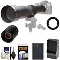 Vivitar 650-1300mm f/8-16 Telephoto Lens with 2x Teleconverter (=2600mm) + EN-EL14 Battery & Charger + Kit for D3300, D3400, D5300, D5500, D5600 Cameras