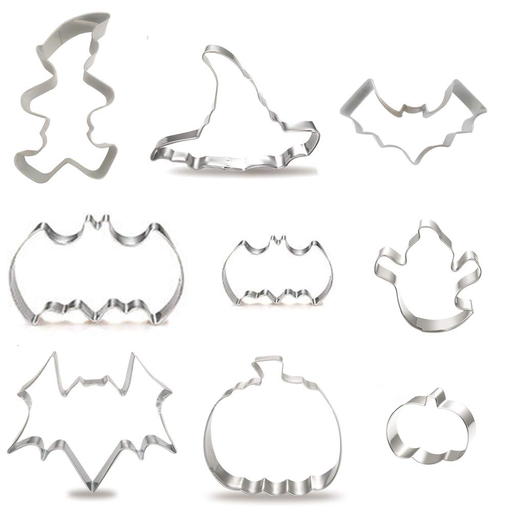 Halloween Cookie Cutters Set - 9 Piece Stainless Steel Biscuits Cutters Witch's Hat, Pumpkin, Ghost,Bat and Mage