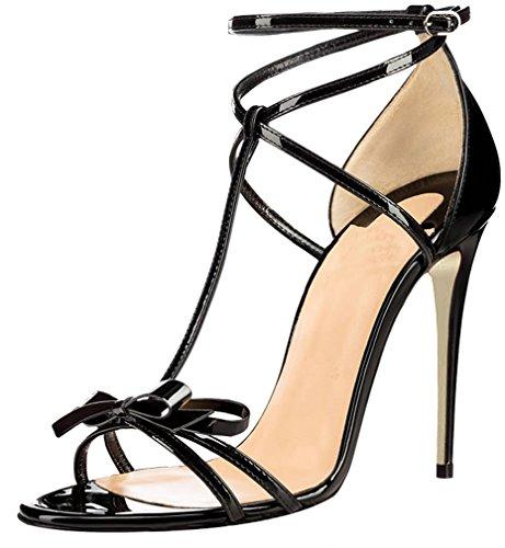 Calaier Mujer Cacatcaa Tacón De Aguja 12CM Sintético Hebilla Sandalias de vestir Zapatos Negro