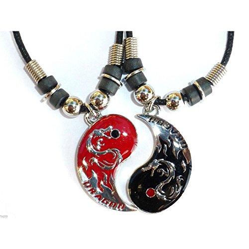Best Friend Chinese Dragon Yin Yang 2 Pendants Necklace BFF Friendship New