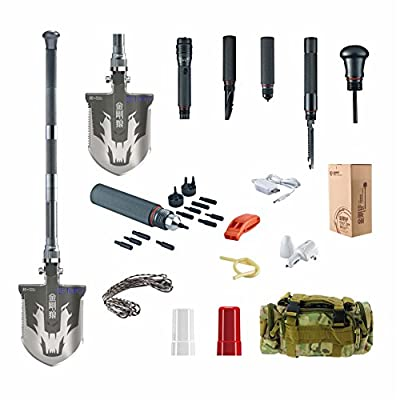 Chafon New Mini Compact Multifunctional Emergency Shovel Outdoor Camping Folding Survival Shovel Kit-Sappers Shovel-Mercenaries Multi-function Outdoor Entrenching Tools for Hiking & Camping Gardening, Auto Emergency, Military, Self-Defense & More-High-Car