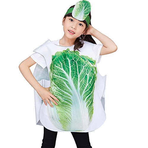 KINDOYO Kids Fruits Vegetables and Animal Costumes Suits Outfits Fancy Dress School Play Party Boys Girls Dance Wear, Chinese cabbage, -