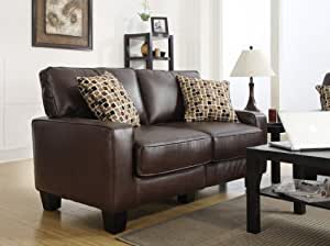 "Serta RTA Palisades Collection 61"" Bonded Leather Loveseat in Chestnut Brown, CR43532P"