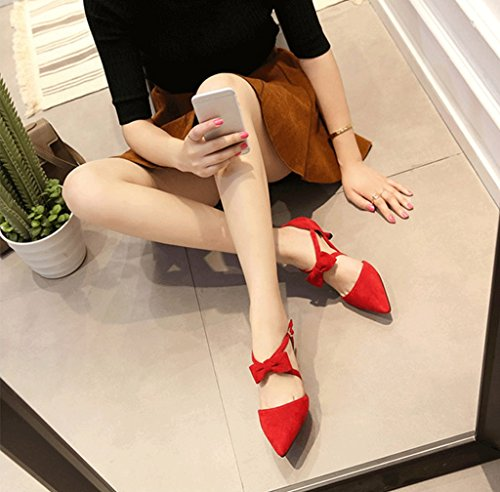 Comfortable Elegant Size Color Toe Fashion Shoes Shallow High Bowknot Red Pointed Heels Sandals Summer Shoes 39 Women Brown Sexy YwqxO1T