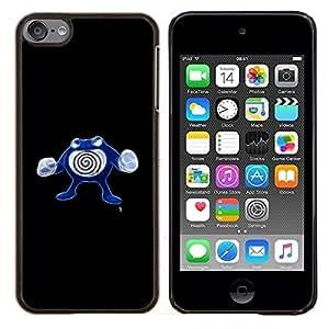 Qstar Arte & diseño plástico duro Fundas Cover Cubre Hard Case Cover para Apple iPod Touch 6 6th Touch6 (Poliwhirl P0kemon)