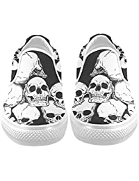 D-Story Custom Cool Skull Print Men's Canvas Shoes Fashion Shoes Sneaker