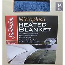 Sunbeam Blanket-Sunbeam Microplush Heated Electric Blanket - King Size Blue