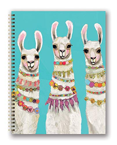 Studio Oh! Extra Large Hardcover Spiral Notebook Available in 6 Designs, Eli Halpin Boho Llamas