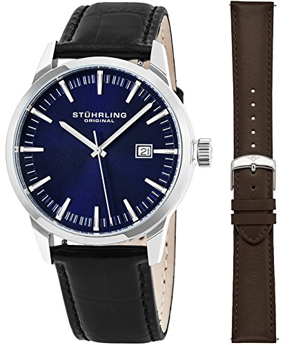 Stuhrling Original Mens Minimalist Swiss Quartz Stainless Steel Dress Wrist-Watch, Quick-Set Date, 2 Easy-Interchangeable Leather Straps – Black and Brown