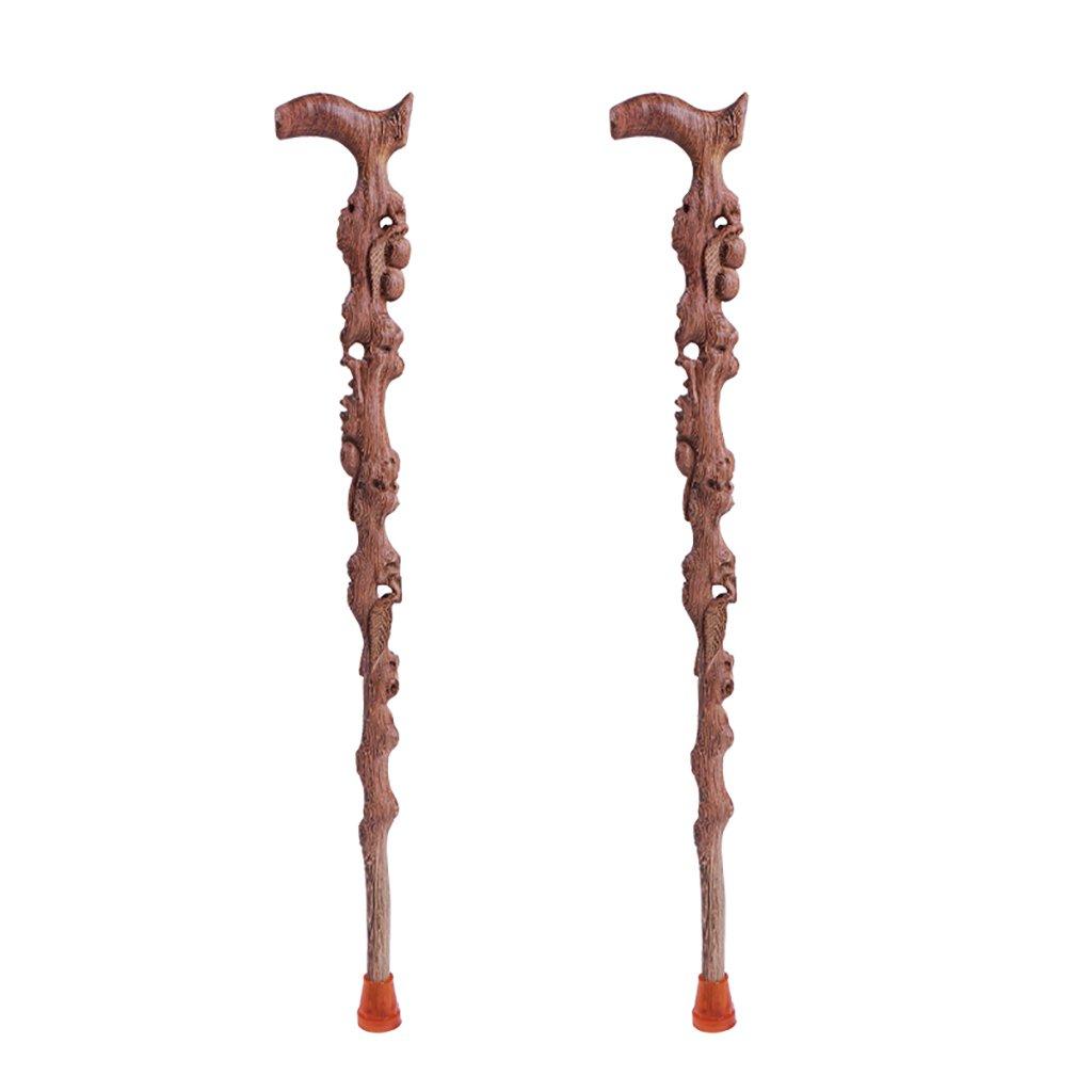 NUBAO ウォーキングスティックお年寄りウォーキングスティックウッドウォーキングスティック高齢者用製品中空の木彫り90cm(35.43インチ)短縮しやすい (色 : C, サイズ さいず : 二) B07CTML5FV 二|C C 二