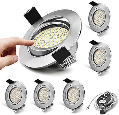 KYOTECH 6 focos LED Iluminación empotrable -5W 230V blanco cálido 3000K, 400Lumen, Ra> 80 focos de techo de acero redondos, lámparas empotradas ángulo de haz de 120 °: Amazon.es: Iluminación