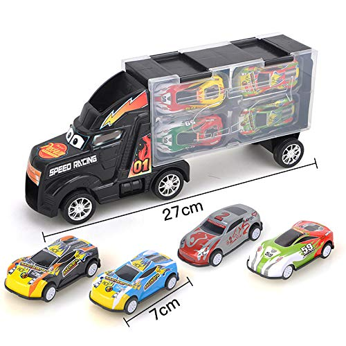 YINmume Transport Car Carrier Truck Toy, Children's toy tractor container truck storage box with pull back metal car model,Black Children's toy tractor container truck storage box with pull back metal car model 159732