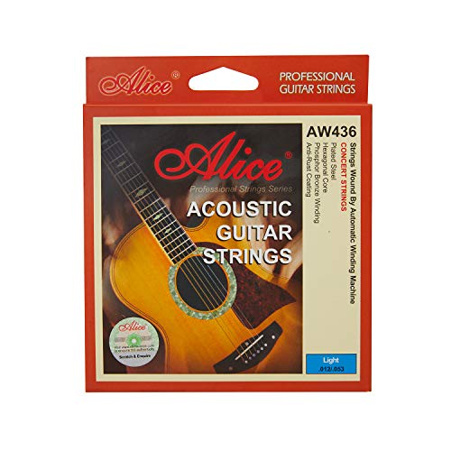 Alice Acoustic Guitar Strings Anti-Rust Coating Phosphor Bronze Winding with Gold-Plated Ball-End, Light(.012-.053) 2 Pack Set