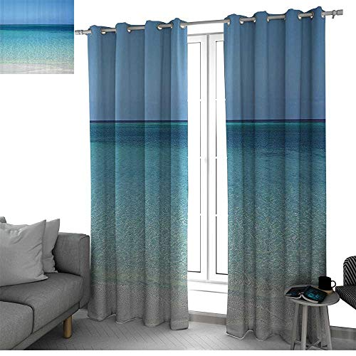 Ocean Decor Collection Insulating Room Darkening Blackout Drapes for Bedroom Clear Water at the Beach in Atlantic Sea Cuba Coasts with Fantastic Sky Scenery Art curtain panels Cream Turquoise