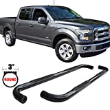 Side Step Bars Fits 2015-2017 Ford F150 Super Crew Cab | Black Powder Coat Finish Carbon Steel Running Boards Nerf Bars By IKON MOTORSPORTS | 2016