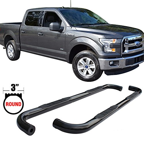 Side Step Bars Fits 2015-2017 Ford F150 Super Crew Cab | Black Powder Coat Finish Carbon Steel Running Boards Nerf Bars By IKON MOTORSPORTS | 2016 by IKON MOTORSPORTS