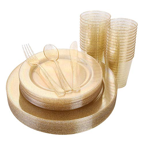 150 Pieces Gold Disposable Plates & Plastic Silverware & Cups, Gold Glitter Dinnerware Set : 25 Dinner Plates 10.25 inch, 25 Dessert PLates 7.5 inch, 25 Tumblers 9 oZ, 25 Forks, 25 Knives, 25 Spoons -