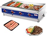 Commercial Countertop Manual Griddle - 48'' Heavy Duty Liquid Propane Flat Top Griddle - Restaurant Equipment for Barbecue - 120,000 BTU