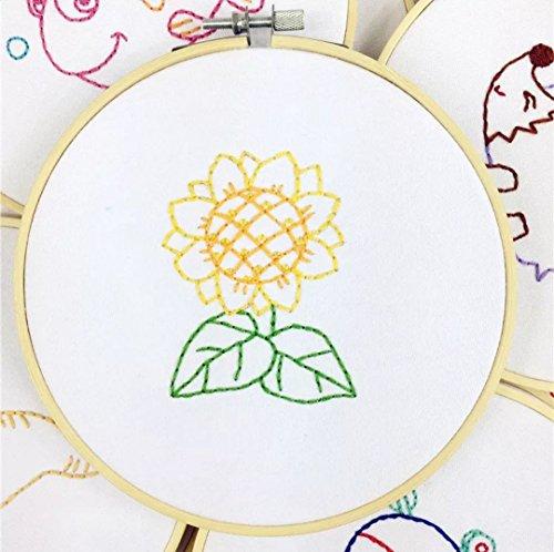 Embroidery Kit for Beginner Cute Animal Design DIY Home Wall Decor Little Sunflower