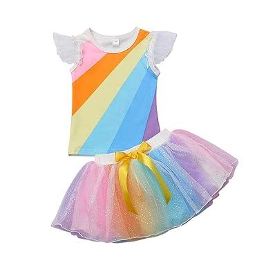 e7d55ca48 Amazon.com  Toddler Infant Newborn Baby Girl Rainbow Ruffle ...