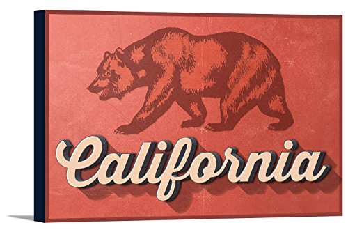 - California - Bear Design (36x24 Gallery Wrapped Stretched Canvas)