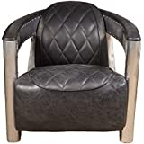 Pulaski P006207 Modern Industrial Metal and Leather Aviation Accent Arm Chair