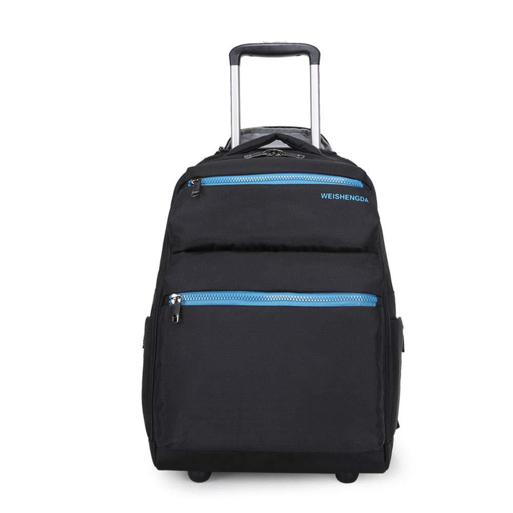 男性トロリーバックパックオックスフォードトラベル荷物バックパックホイールホイールローリングバッグ手荷物女性旅行トロリー荷物スーツケース  Black B07MNNFSNJ