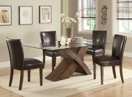 103051 Nessa Large Scaled X Base Dining Table with Glass Top by Coaster (Glass Dining Room Table Base)