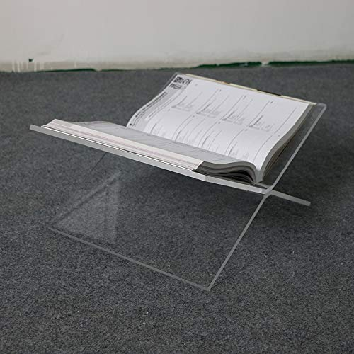 ONELUX Flat Open Clear Acrylic Magazine Tray Holder,Tabletop Lucite Book Stand by ONELUX