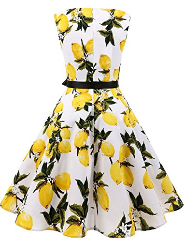 Belt Cocktail 1950s Dresses Rockabilly Gardenwed with Lemon Flower Swing Women's Vintage Retro pxnzTR