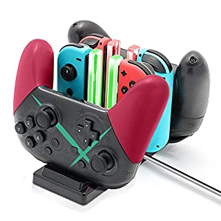 Controller Charger Dock for Nintendo Switch, 6 in 1 Charging Station for Nintendo Switch Joy-Con Controllers and Pro Controllers Black