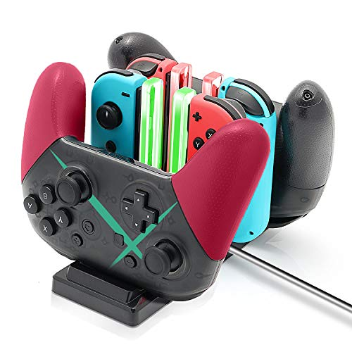 Dock Insert - Controller Charger Dock for Nintendo Switch, 6 in 1 Charging Station for Nintendo Switch Joy-Con Controllers and Pro Controllers Black