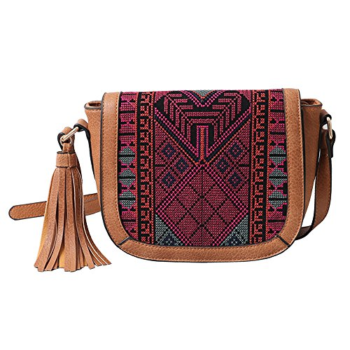 Crossbody Saddle Bag for Women FanCarry Synthetic Leather Bohemian Style Flap Top Shoulder Purse with Tassels (Light Brown)