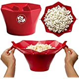 Hot Magic Silicone Popcorn Container Cooking Kitchen Tools,Popcorn Maker (red)