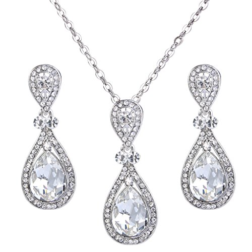 BriLove Wedding Bridal Necklace Earrings Jewelry Set Elegant Crystal Teardrop Pendant Necklace Dangle Earrings Set Clear ()