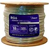 Southwire 56918345 500-Feet Dual Shields Type RG 6/U 18 AWG Coaxial Cable, White