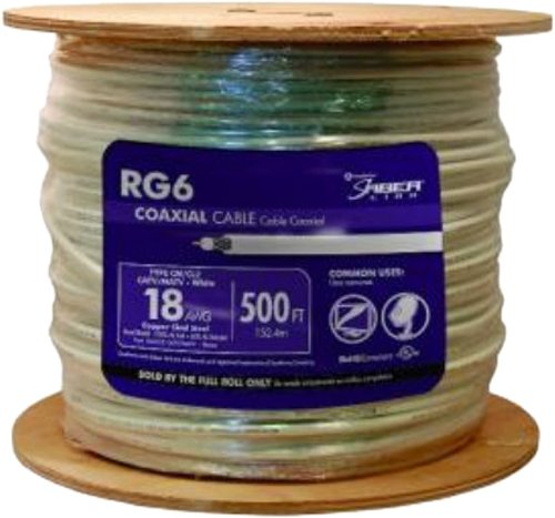 (Southwire 56918345 500-Feet Dual Shields Type RG 6/U 18 AWG Coaxial Cable, White)