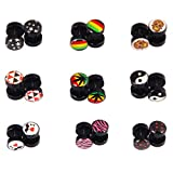 18Pcs Fake Plugs Stud Earrings Set, 16G 00G Gauges Ear Piercing Plugs Body Jewelry No Duplicate (9 Pairs)