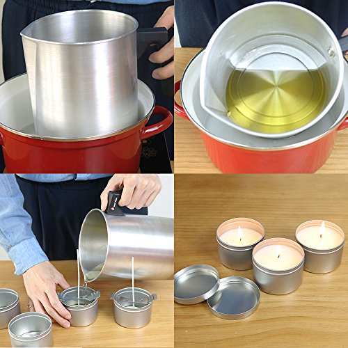 EricX Light Candle Making Pouring Pot, 4 pounds, Dripless Pouring Spout & Heat-Resisting Handle Designed Wax Melting Pot, Aluminum Construction Candle Making Pitcher