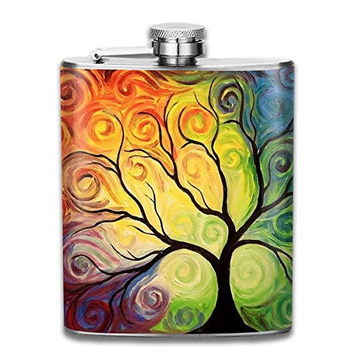 Todd Abstract Painting - Men and Women Thick Stainless Steel Hip Flask Outdoor Mini Portable Watercolor Abstract Oil Painting Tree Portable Adult Pocket Flagon Whiskey Container Flask Pocket 7 Oz 304 Thick for Unisex