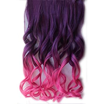 Amazon 26 colorful wavy synthetic fiber hair extensions 26quot colorful wavy synthetic fiber hair extensions long curly gradient hairpiece pmusecretfo Images