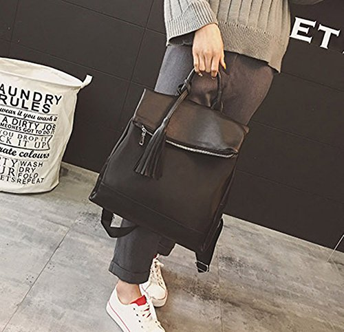 Casual Black Pu Bag Rrock Nylon Female Bag Bag Black Fringe Fashion Backpack Simple wnYUpxPU