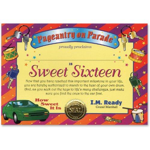 Sweet Sixteen Certificate Greeting 5