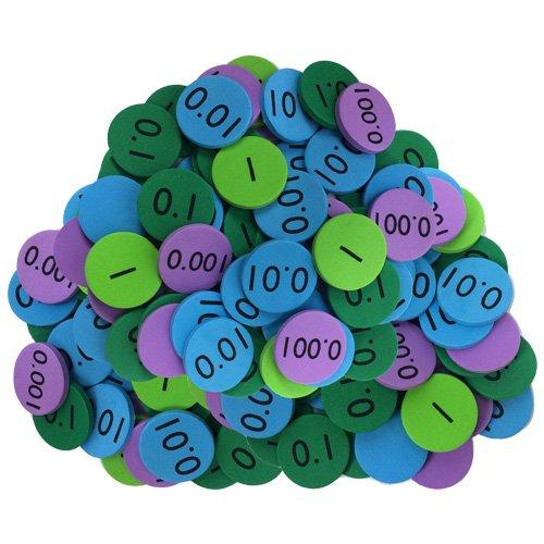 EAI Education QuietShape Foam Place Value Disks Thousandths to Ones Set of 120