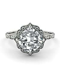 Moissanite Ring Forever One 6mm (1.10ct Diamond eq weight) 14K Rose Gold Flower Leaves