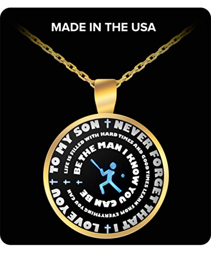 Baseball Gift Necklace For Boys - Gold Pendant – To My Son - Personal Gift From Mom & Dad - Inspirational Sports Charm - Blue Design - Ny Themed Costumes