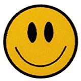 Smiley Happy Smile Face Yellow Iron On Badge Applique Patch