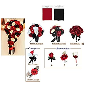 Angel Isabella Build Your Wedding Package-Artificial Flower Bouquet Corsage Boutonniere Rose Calla Lily in Apple Red Black White Color Theme 93