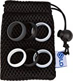 SILO Silicone Wedding Rings Set + Gift Bag – 9mm Men OR 6mm Women, 3 Band Shades Pack – Black, Gray, White For Sale